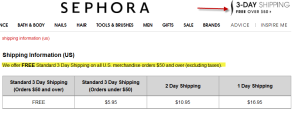 Sephora Free Shipping over $50 offer