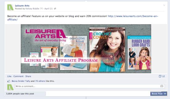 Using Facebook to recruit affiliates